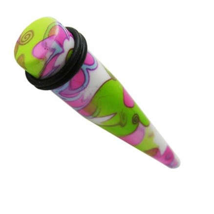 Green Flower Straight Ear Stretcher With Black Band