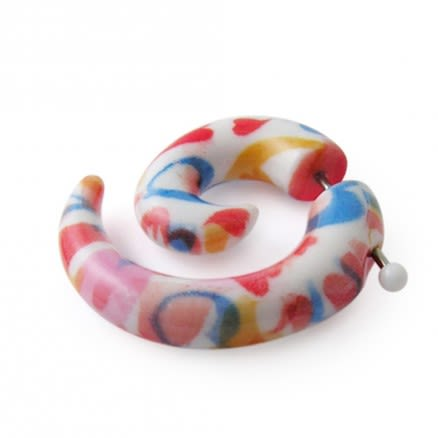 FAKE SPIRAL Ear Taper Cheater Stretcher Acrylic Flesh Plug In Mix Color