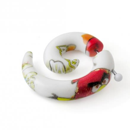 Hand Painted Angry Bird Spiral Fake UV Ear Expander