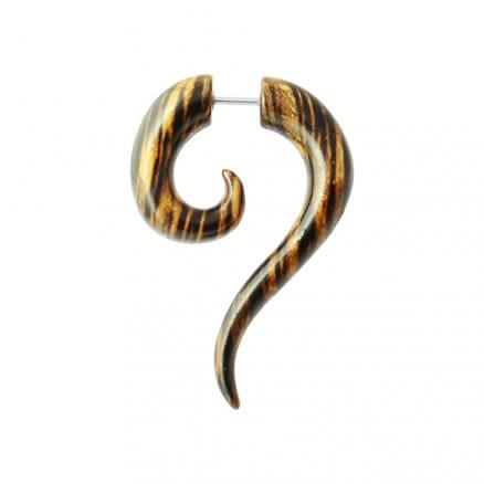 Wooden Spiral Long Tail Fake Ear Plug