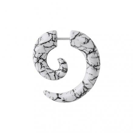 Zebra Marble Spiral Fake Ear Plug