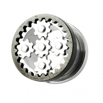 SS Steampunk Black Web Screw Fit Flesh Tunnel