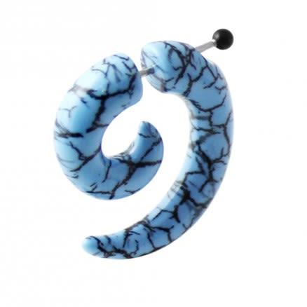 Aqua and Black Marble Invisible Fake Ear plug