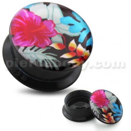 Hibiscus with leaves UV Internal Screw Fit Ear Tunnel