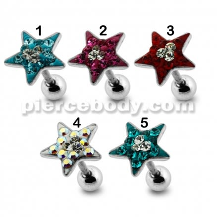 Star Crystal Surgical Steel Fake Ear Plug