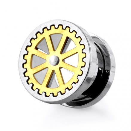 PVD Gold Plated Wheel Design Handy Mirror Polished Flesh Tunnels