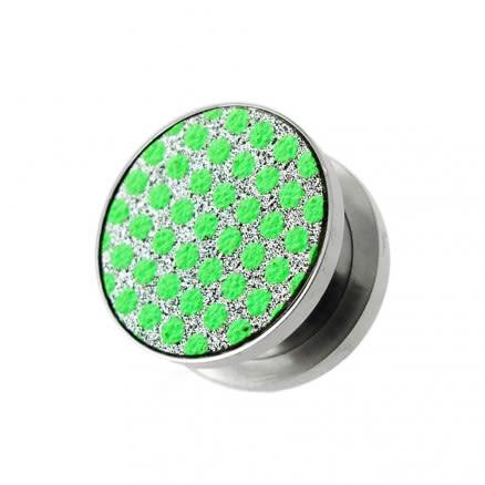 Green Dots on White Glitter Ear tunnel gauges