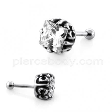 Square Jeweled Casting Invisible Ear Plug