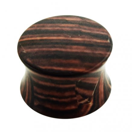 Brown Wood Pattern UV Acrylic Double Flared Saddle Plug