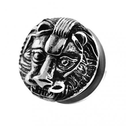 Casting Lion Face Screw Fit Ear Gauges