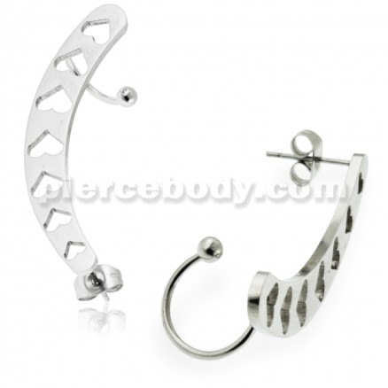 Hollow Hearts Ear Cuff Piercing Wrap Cartilage Clip