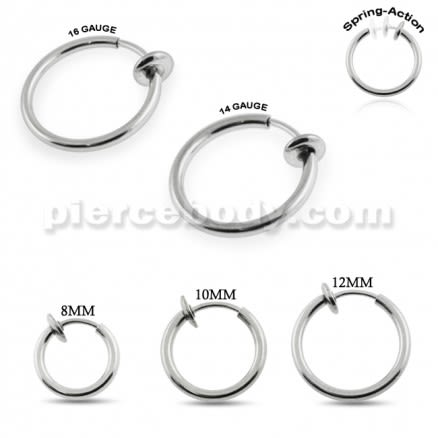 Spring Action Steel Fake Body Jewelry Nose Hoop