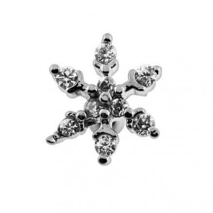 Jeweled Snowflake Cartilage Tragus Piercing Ear Stud