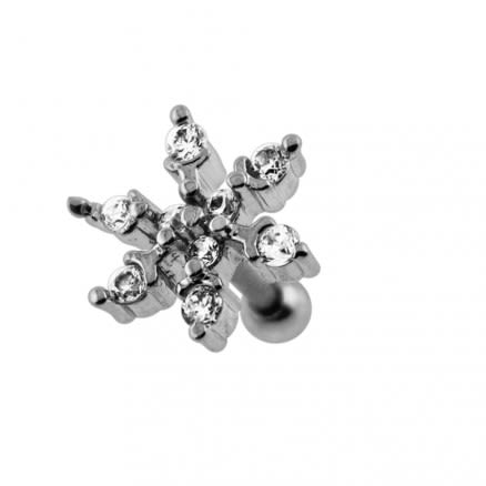Jeweled Snowflake Cartilage Tragus Piercing Ear Stud