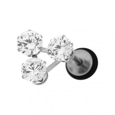 Tri Jeweled Invisible Fake Ear Plug