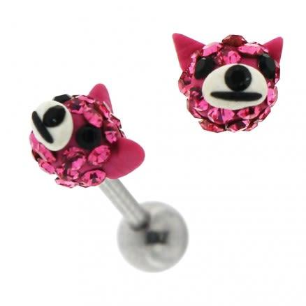 Multi Jeweled Dog Face Cartilage Tragus Piercing Ear Stud