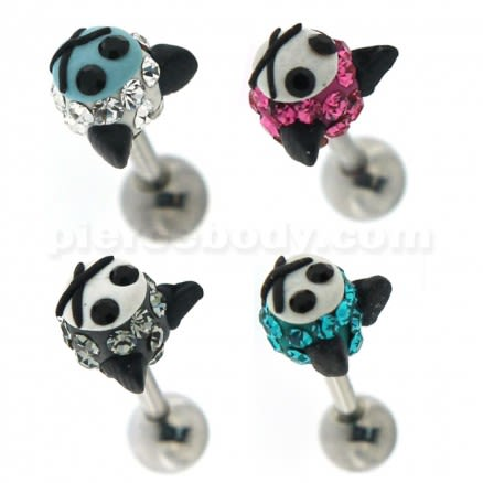 Multi Jeweled Kitty Cat Cartilage Tragus Piercing Ear Stud