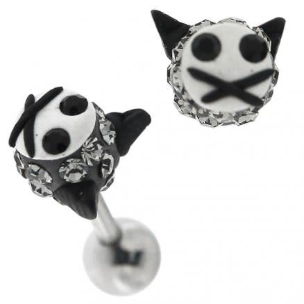 Multi Jeweled Kitty Cat Cartilage Tragus Piercing Ear Stud