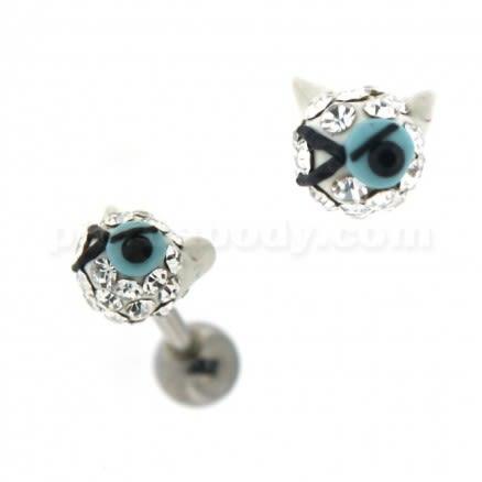 Multi Jeweled Winking Cat Cartilage Tragus Piercing Ear Stud
