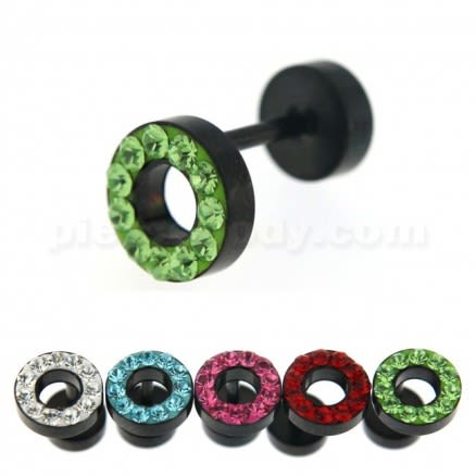 Multi Jeweled 8 mm Black PVD Flat Disc with Hole Invisible Ear Plug