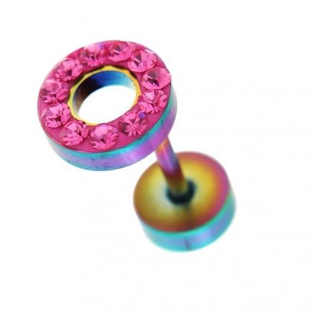 Multi Jeweled 8 mm Rainbow Flat Disc with Hole Invisible Ear Plug