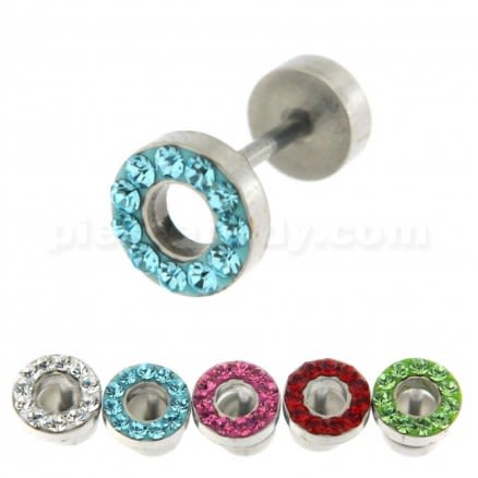 Multi Jeweled 8 mm Flat Disc with Hole Invisible Fake Ear Plug