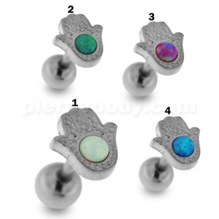 Hamsa or Fatima Hand with Opal Stone Tragus Piercing Ear Stud