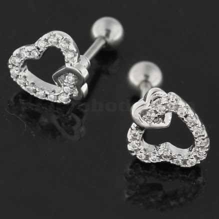 Cartilage Tragus Piercing Micro Jeweled Heart in Heart Ear Stud