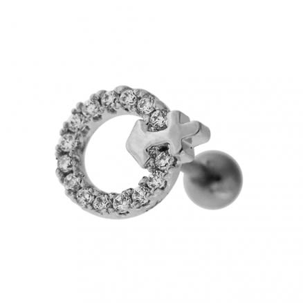 Cartilage Tragus Piercing Micro Jeweled Round with Anchor Ear Stud