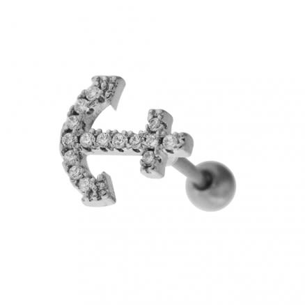 Cartilage Tragus Piercing Micro Jeweled Anchor Ear Stud