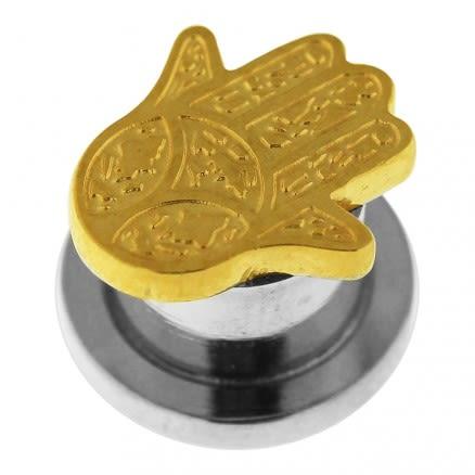 PVD Gold Surgical Steel Hamsa or Fathima Hand Flesh Tunnel