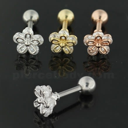 Cartilage Helix Tragus Piercing Jeweled 5 stone Flower Ear Stud
