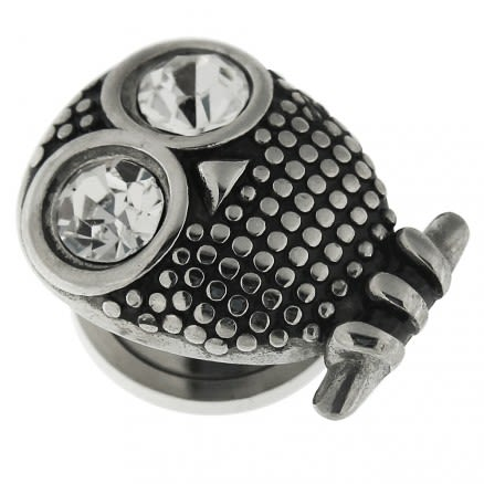 Surgical Steel Owl with Clear CZ Eye Flesh Tunnel