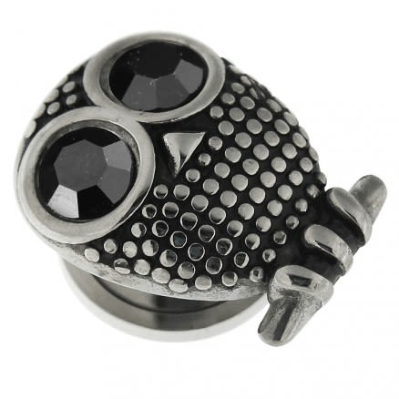 Surgical Steel Owl with Black CZ Eye Flesh Tunnel