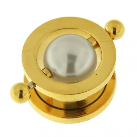Gold PVD Plated Surgical Steel Flesh Tunnel with Pearl in Center