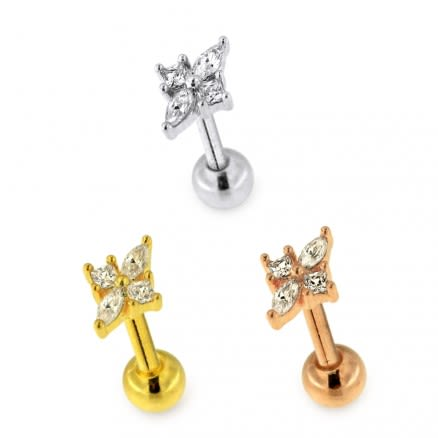 Jeweled Floral Flower Cartilage Helix Tragus Piercing Ear Stud