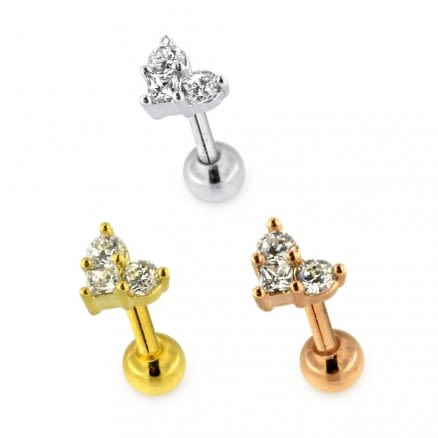 Trinity Heart Jeweled Cartilage Helix Tragus Piercing Ear Stud