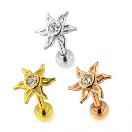 Jeweled Sun Cartilage Helix Tragus Piercing Ear Stud