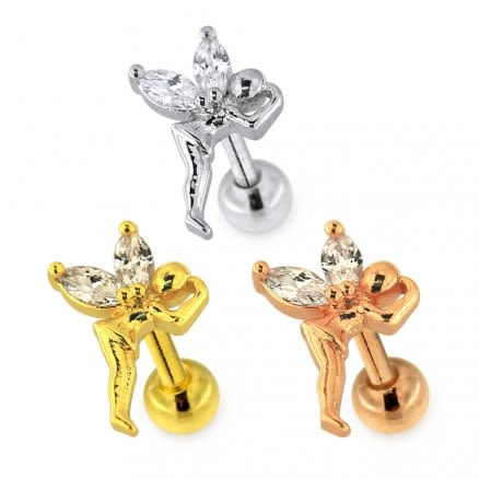 Jeweled Flying Angel Helix Tragus Piercing Ear Stud