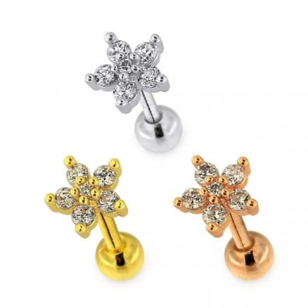 Jeweled 6 Stone Flower Helix Tragus Piercing Ear Stud