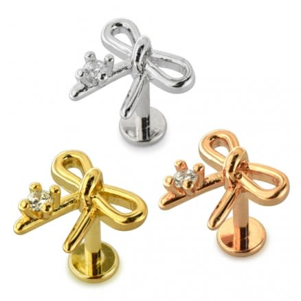 Jeweled Bow Surgical Steel Helix Tragus Piercing Ear Stud