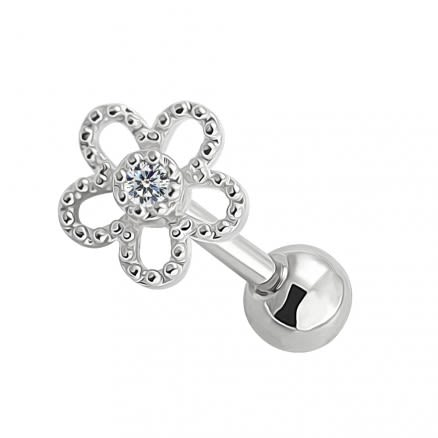 Cartilage Helix Tragus Piercing Center Jeweled Flower Ear Stud