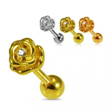 CZ Jeweled Rose Flower Cartilage Helix Tragus Piercing Ear Stud