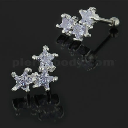 925 Sterling Silver Tri Star Cartilage Tragus Piercing Ear Stud