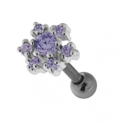 925 Sterling Silver Jeweled Flower Cartilage Tragus Piercing Ear Stud