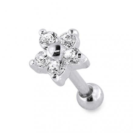 Sterling Silver Flower Fancy Jeweled Cartilage Helix Tragus Piercing Ear Stud
