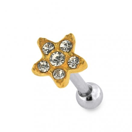 Sterling Silver Jeweled Flower Cartilage Helix Tragus Piercing Ear Stud