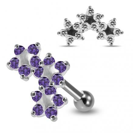 925 Sterling Silver Tri Star jeweled Flower Cartilage Tragus Piercing Ear Stud