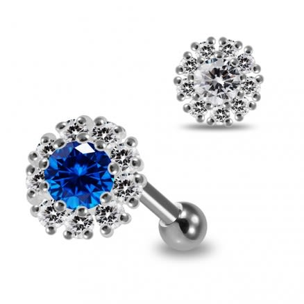 925 Sterling Silver Round CZ Jeweled Flower Cartilage Tragus Piercing Ear Stud