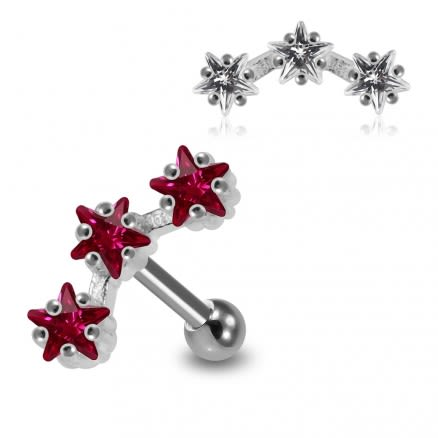 925 Sterling Silver Tri Star jeweled Cartilage Tragus Piercing Ear Stud